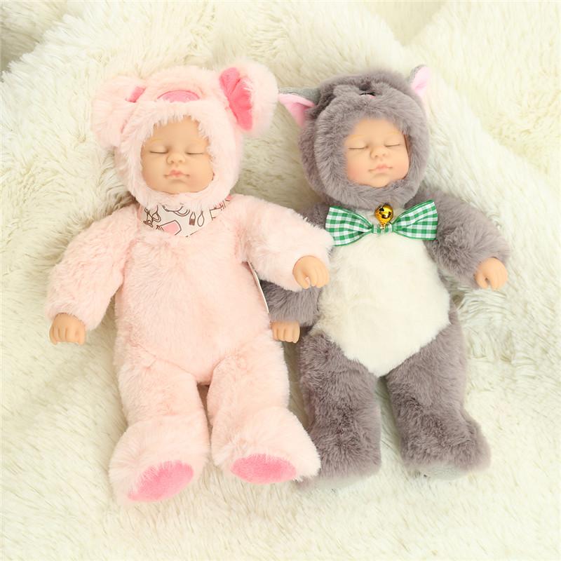 Mini 25cm Soft Fully Body Silicone Reborn Doll Sleeping For Gift Bath Toy
