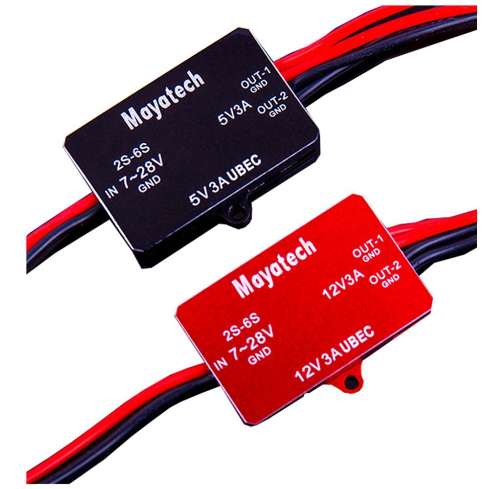 Mayatech 5V 12V Step Down Power Supply Voltage Regulation 7-28V to 5V/13-28V to 12V Buck Module UBEC-3A 6s for FPV UAV RC Model