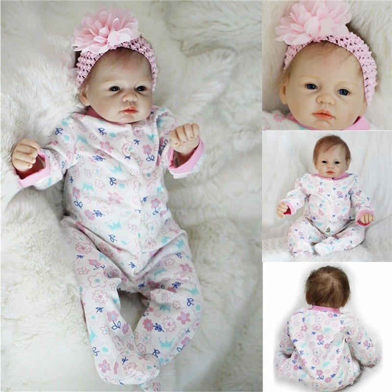 "Real Newborn 22 Handmade Lifelike Baby Doll Reborn Silicone Vinyl Clothes Body"""