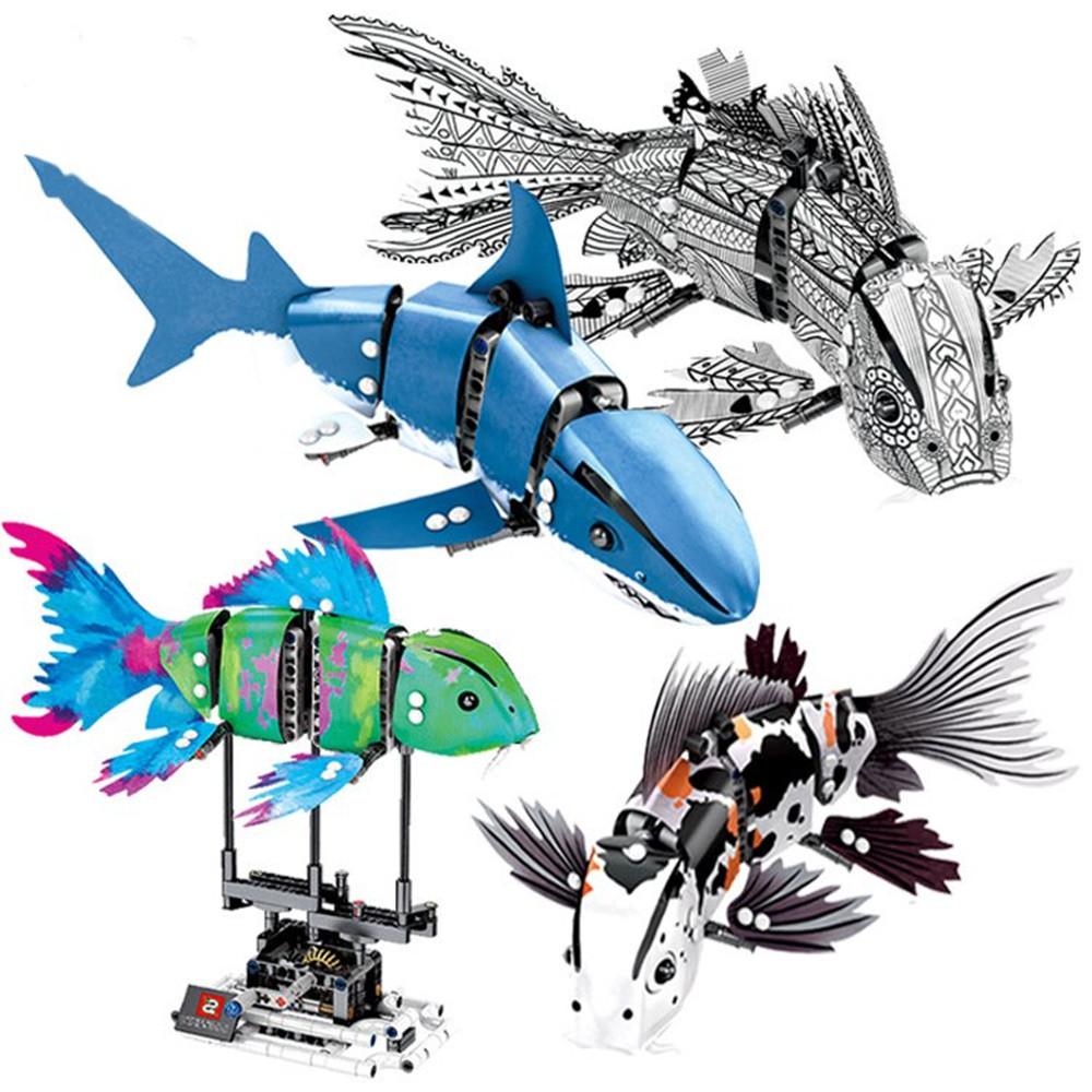 S Innovate 7006A-D Robot Shark Swim Fish Gear Power Toy Blocks Toys 342PCs Kid Movable Gift