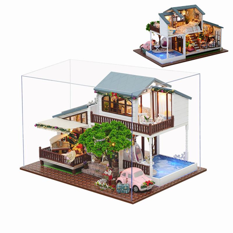 CuteRoom A-039-B London Holiday Christmas Gift DIY Dollhouse With Cover Light Car Music House Model