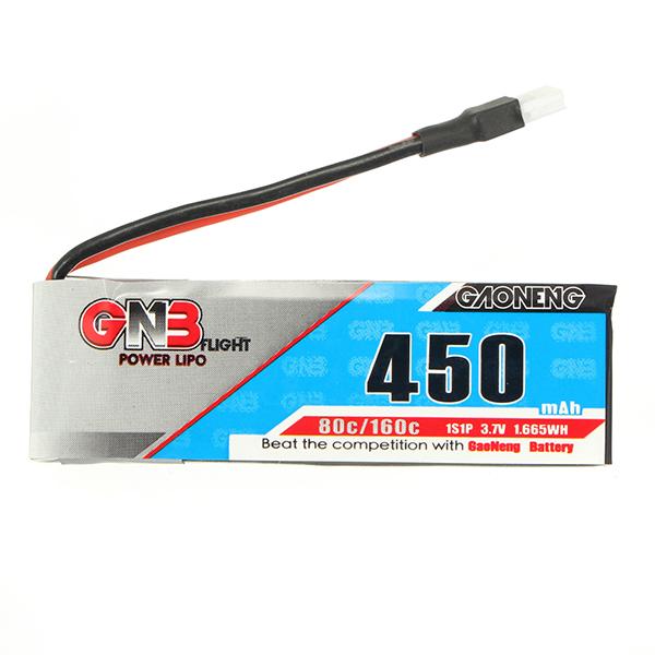 2PCS Gaoneng GNB 3.7V 450mAh 1S 80/160C Lipo Battery With White Plug