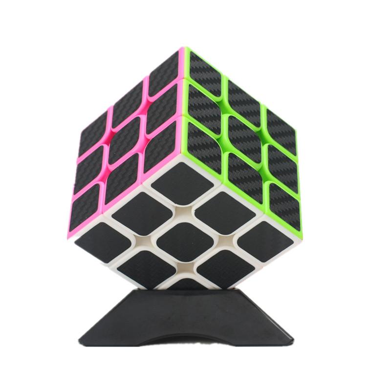 Classic Magic Cube Toys 3x3x3 PVC Sticker Block Puzzle Speed Cube Fibre Carbon