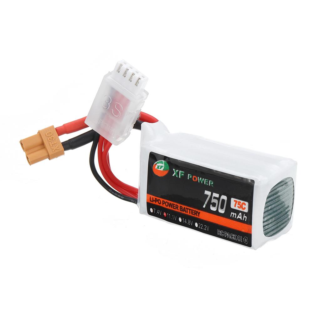 XF POWER 11.1V 750mAh 75C 3S Lipo Battery XT30 Plug for RC FPV Racing Drone