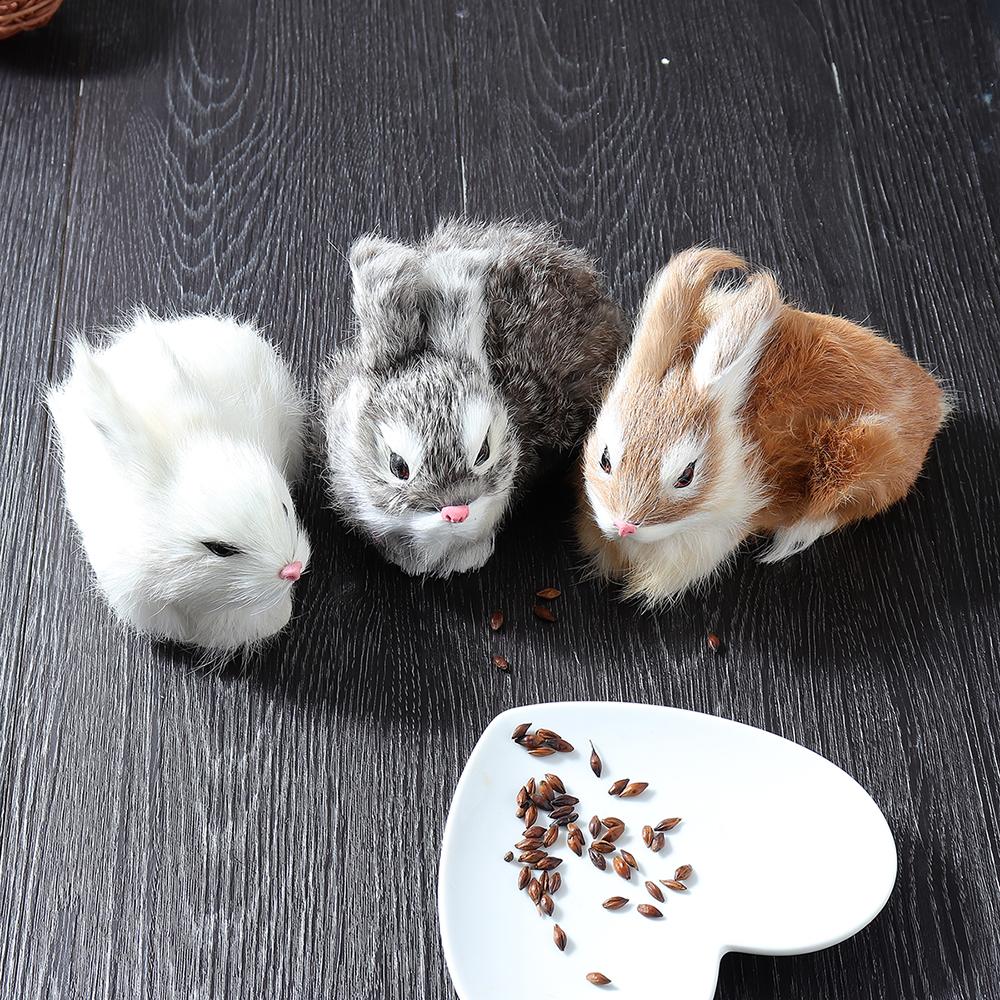 Lifelike Rabbit Crouching Animals Models Handmade Realistic Dolls Stuffed Plush Toy