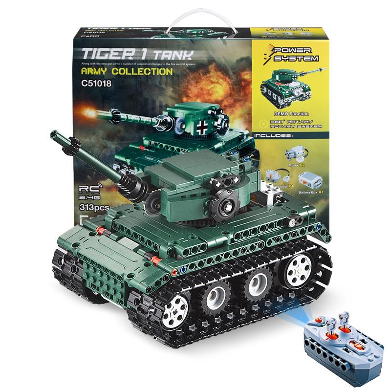 Doublee CaDA Tank Splicing Strong Power Remote Control Crawler Tank Blocks Toys Children's Toys C51018W