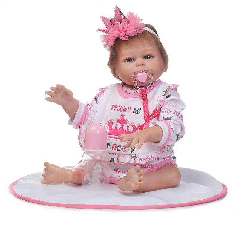 "19.5 Handmade Silicone Reborn Girl Body Lovely Dolls Newborn Baby Vinyl Toys"""
